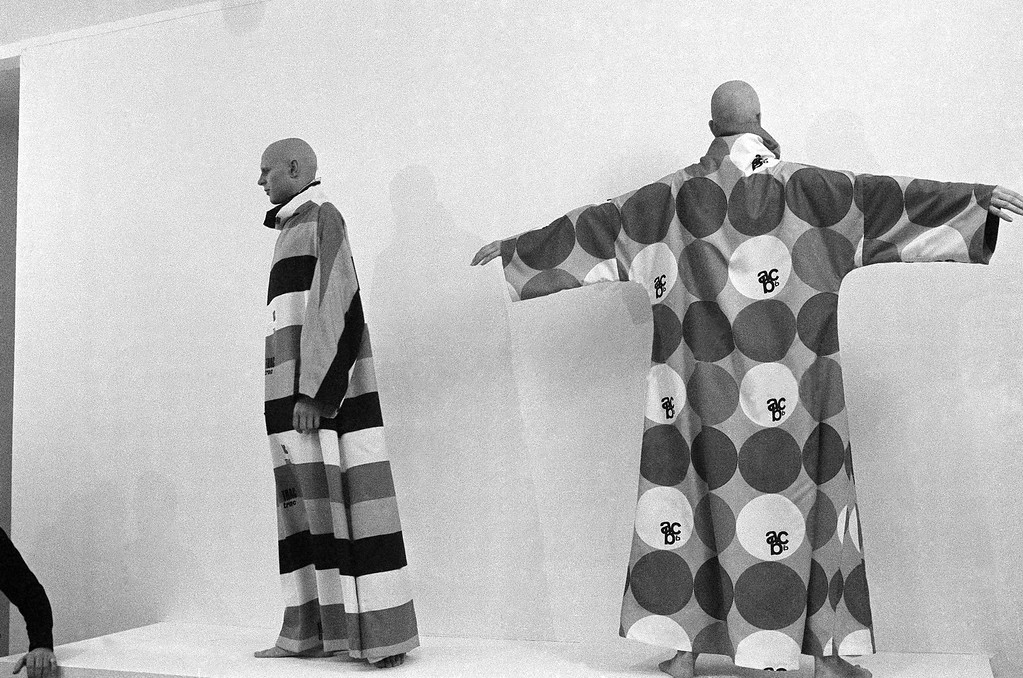 . ?Statement for the 70s? by deisgner Rudi Gernreich which his models start to reveal during art gallery showing in Los Angeles on Tuesday, Jan. 21, 1970. The models, shaved from head to toe, started out clothed in slacks and halters, then stripped to bikini bottoms, then shed the bottoms too. Gernreich predicts nudity for the young; total coverage for the old and unisex for everybody via shaved heads. (AP Photo)