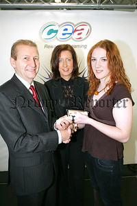 Claire Hardy a past pupil of St Louis Grammar School, Kilkeel is congratulated by Alan Lennon, CCEA Chairman and Head of Art & Design Caroline Gallagher Lavery on achieving joint overall first place in Art & Design in CCEA's summer 2006 A level examinations.  This is the eighth consecutive year that a St Louis Grammar school student has been awarded first place in CCEA's A Level Art & Design