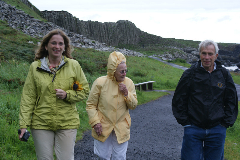 Giant's Causeway with Grammy in her banana jacket.