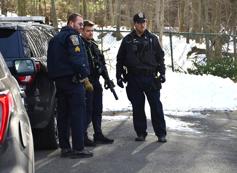 1/21/2020 Mike Orazzi | Staff Bristol police while searching for a suspect who stole a car on School Street and then abandoned the vehicle on Father Crudele Drive on Tuesday afternoon.