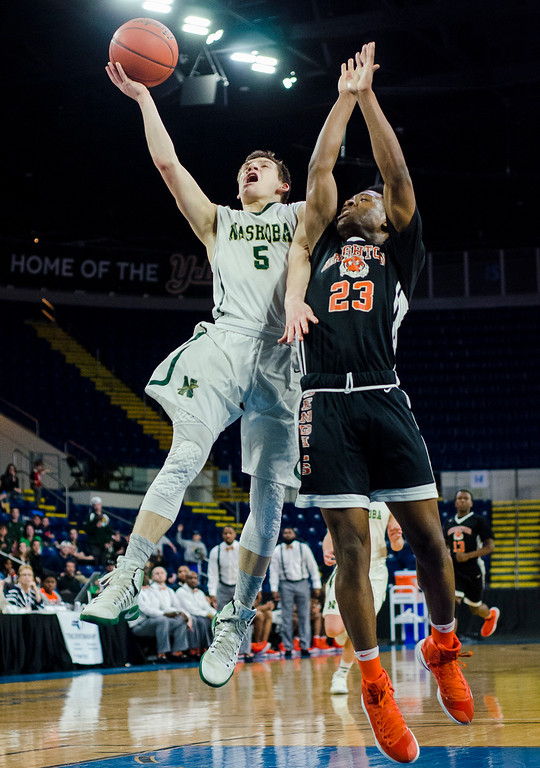 . Nashoba\'s Trevor Manyak in action during the Division 2 state final against Brighton at Springfield\'s Mass Mutual Center on Saturday, March 18, 2017. SENTINEL & ENTERPRISE / Ashley Green
