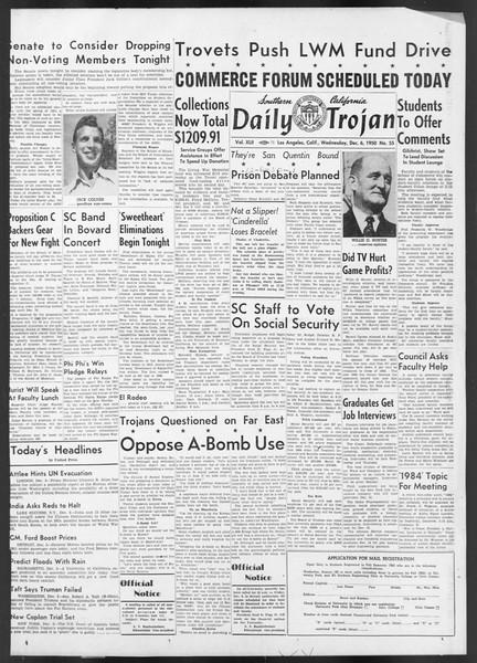 Daily Trojan, Vol. 42, No. 55, December 06, 1950