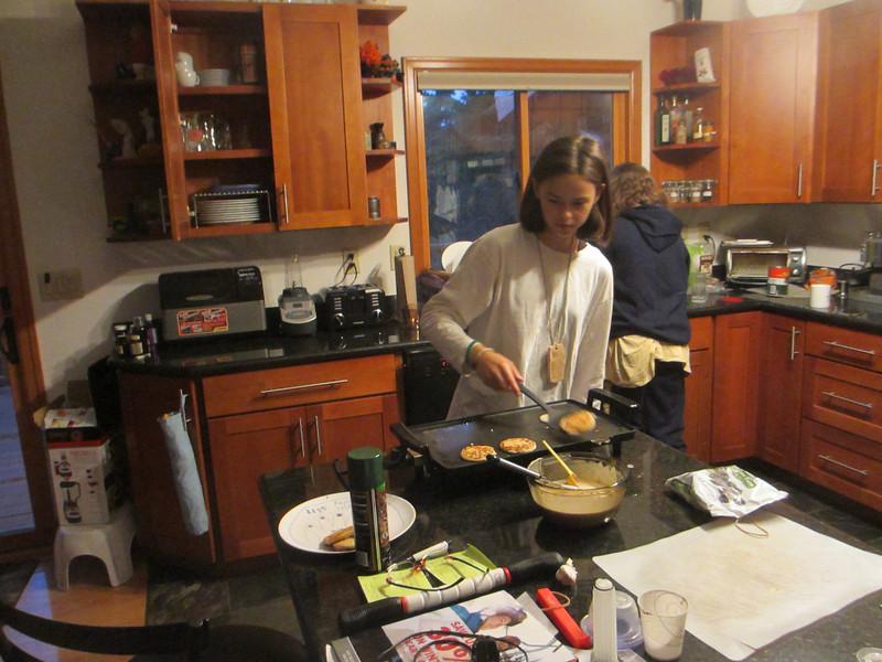 making birthday pancakes.