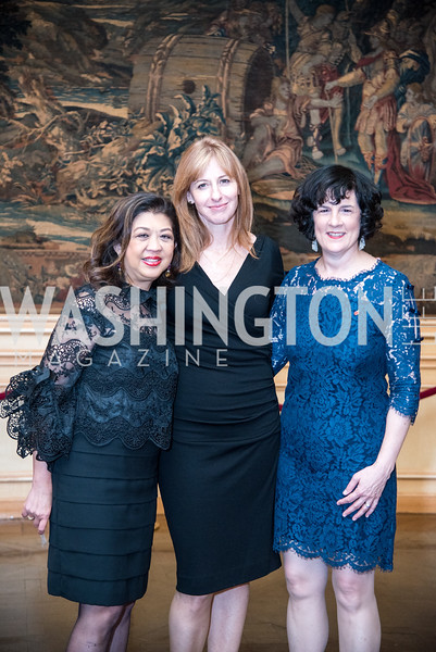 Amy Poster, Lisa Pitrelli, Amanda Pullinger, Ambassadors for Drug-Free Youth, Mentor Foundation USA, at the Meridian House, November 9, 2017.  Photo by Ben Droz.