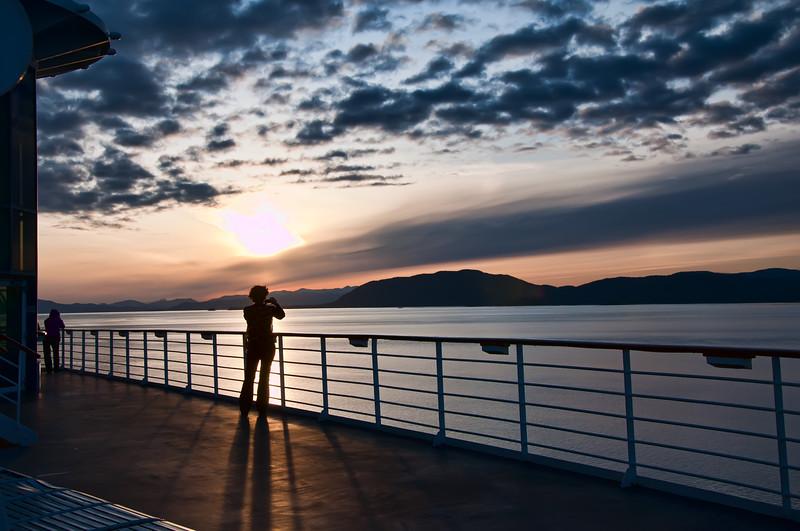 Sunset off the coast of Alaska.