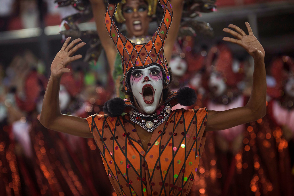 . A performer from the Salgueiro samba school dances during Carnival celebrations at the Sambadrome in Rio de Janeiro, Brazil, Monday, Feb. 27, 2017. (AP Photo/Mauro Pimentel)