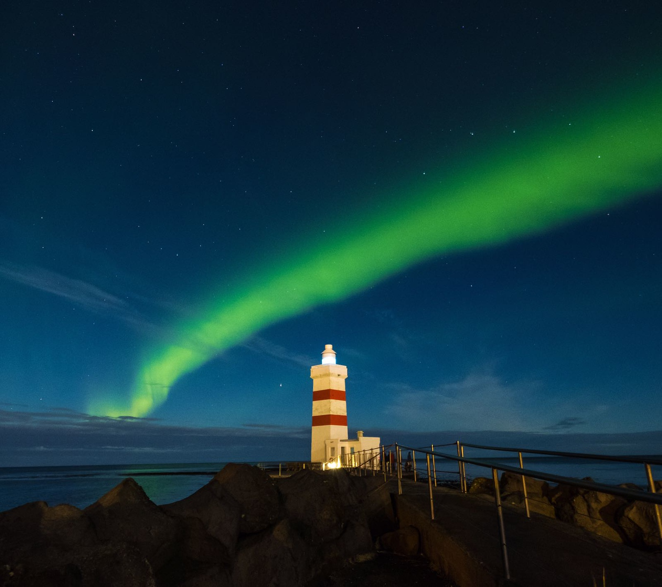 Northern Lights over Lighthouse