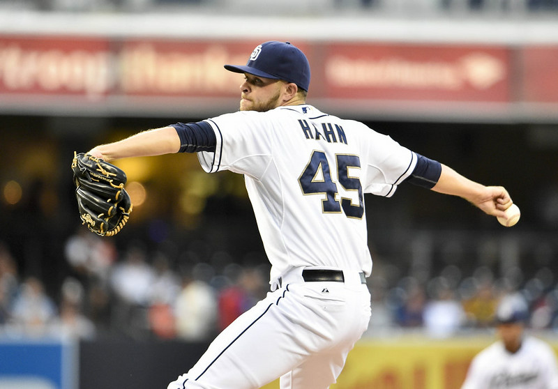 . Jesse Hahn #45 of the San Diego Padres pitches during the first inning of a baseball game against the Colorado Rockies at Petco Park August 11, 2014 in San Diego, California.  (Photo by Denis Poroy/Getty Images)