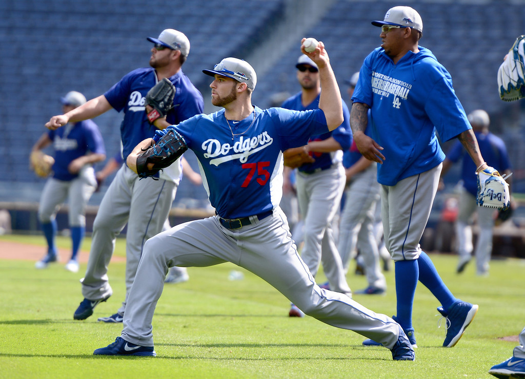 . Los Angeles\' Dodgers\' Paco Rodriguez works out Wednesday, October 2, 2013 as they get ready for the first playoff game against the Atlanta Braves Thursday at Turner Field in Atlanta, Georgia. (Photo by Sarah Reingewirtz/Pasadena Star- News)
