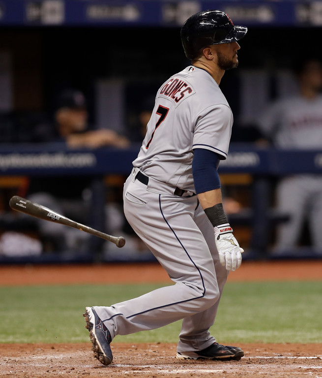 . Cleveland Indians\' Yan Gomes singles off Tampa Bay Rays pitcher Adam Kolarek during the sixth inning of a baseball game Monday, Sept. 10, 2018, in St. Petersburg, Fla. (AP Photo/Chris O\'Meara)