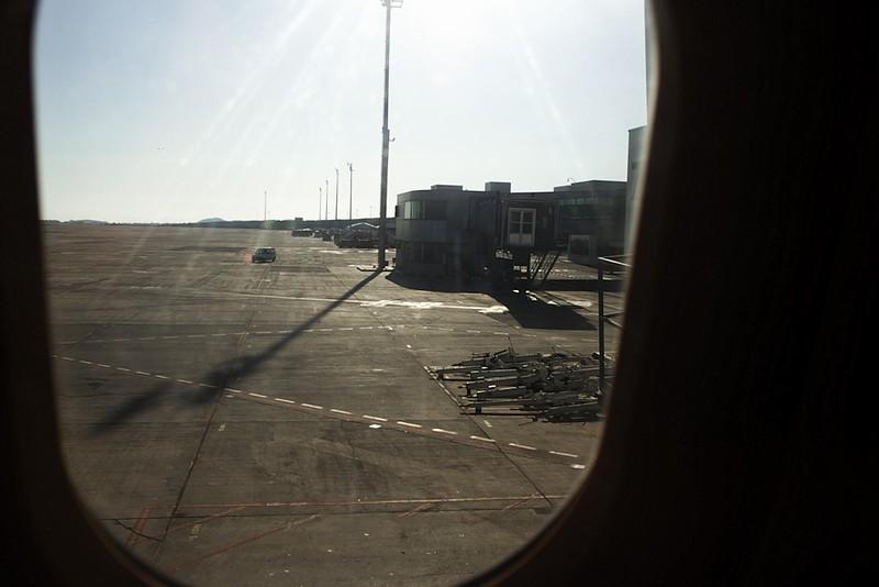 Letiště Tenerife Sur z okénka letadla