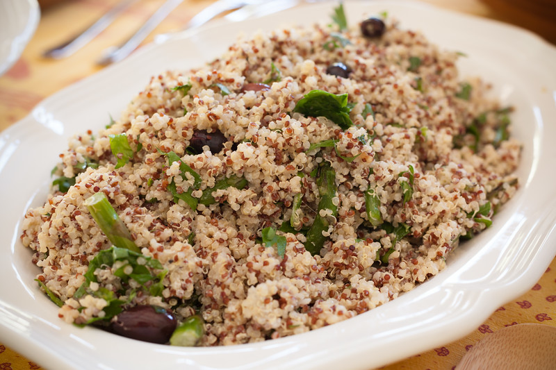 Quinoa salad with asparagus, goat cheese, and olives