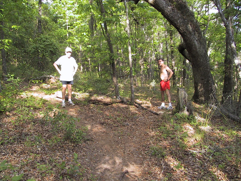 """Looks like the old """"V"""" split for Coupe de Ville Trail. Jeff (left) standing on the highside, Rolando lowside. Highside CdV veered up to between F1 and F2 then weaved down through the F2 pine grove to the F3 turnaround, lowside parallels the RR tracks."""