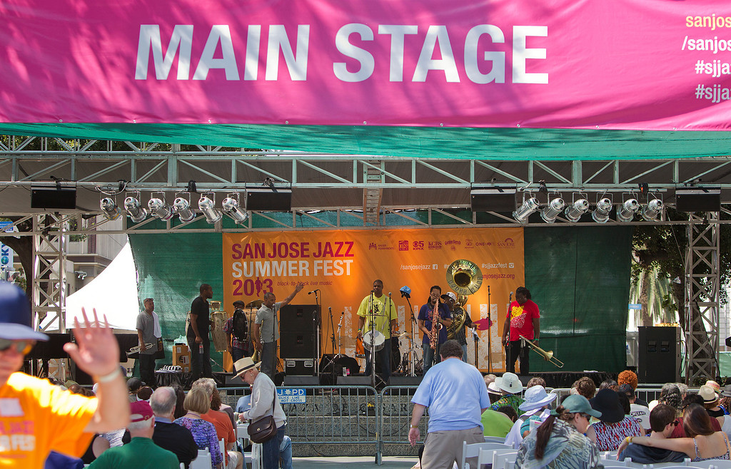 . The Rebirth Brass Band performs on the Main Stage at the San Jose Jazz Festival, in San Jose, Calif., on Saturday Aug. 10, 2013.  (LiPo Ching/Bay Area News Group)