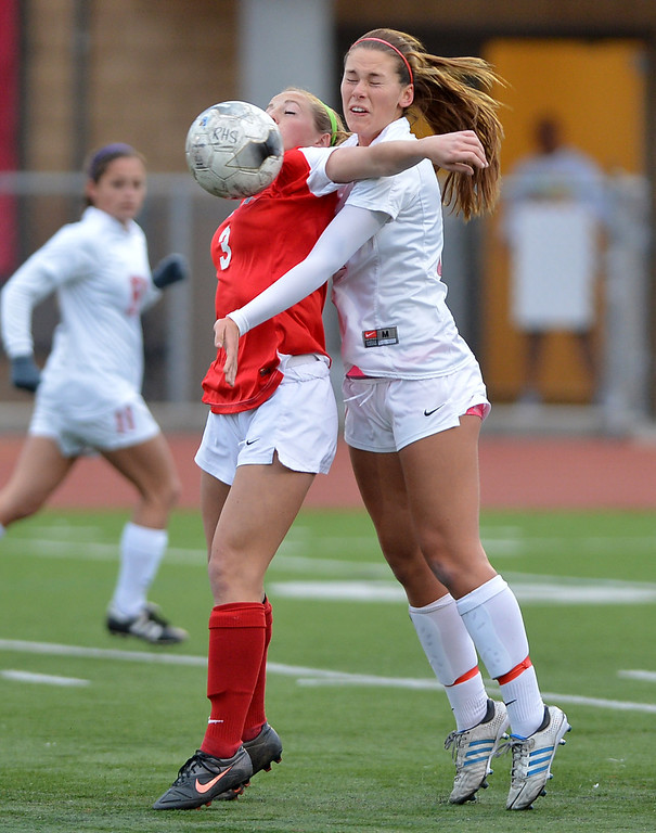 . TS20-GREATOAK-REDONDO--- Redondo Beach, CALIFORNIA--2/19/13--- Staff Photo: Robert Casillas / LANG--- Great Oak (Temecula) at Redondo girls CIF Division II soccer playoff. Great  Oak won on penalty kicks 20-19 after 0-0 overtime tie. Great Oak\'s Steph Malherbe (3) blocks out redondo\'s Erin Guernsey.