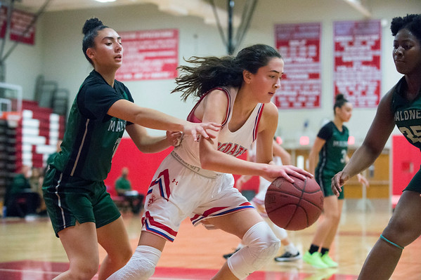 12/20/19 Wesley Bunnell | StaffrrBerlin girls basketball defeated Maloney on Monday night at home 44-20. Alivia Halkias (5)