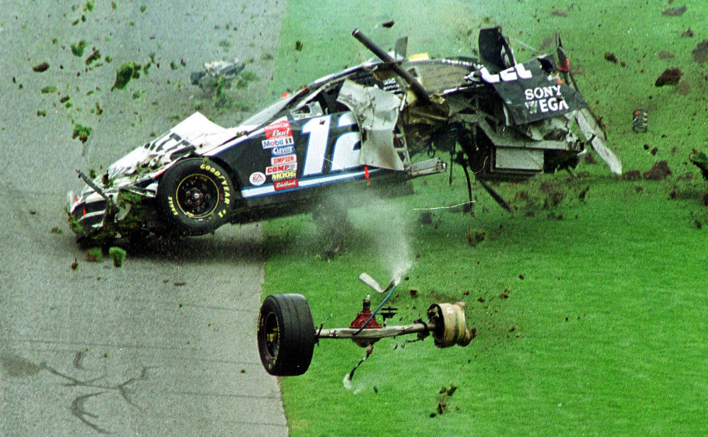 . NASCAR driver Ryan Newman turns over in his Dodge coming out of turn 4 in the Daytona 500 Sunday Feb 16, 2003 at the Daytona International Speedway in Daytona Beach, Fla.  Newman  walked away from the accident. ``Daytona is just one race, it doesn\'t make or break the season,\'\' Newman said. ``We wrecked out, there\'s nothing we can do about that except pack up and move on to Rockingham.\'\' (AP Photo/David Graham)