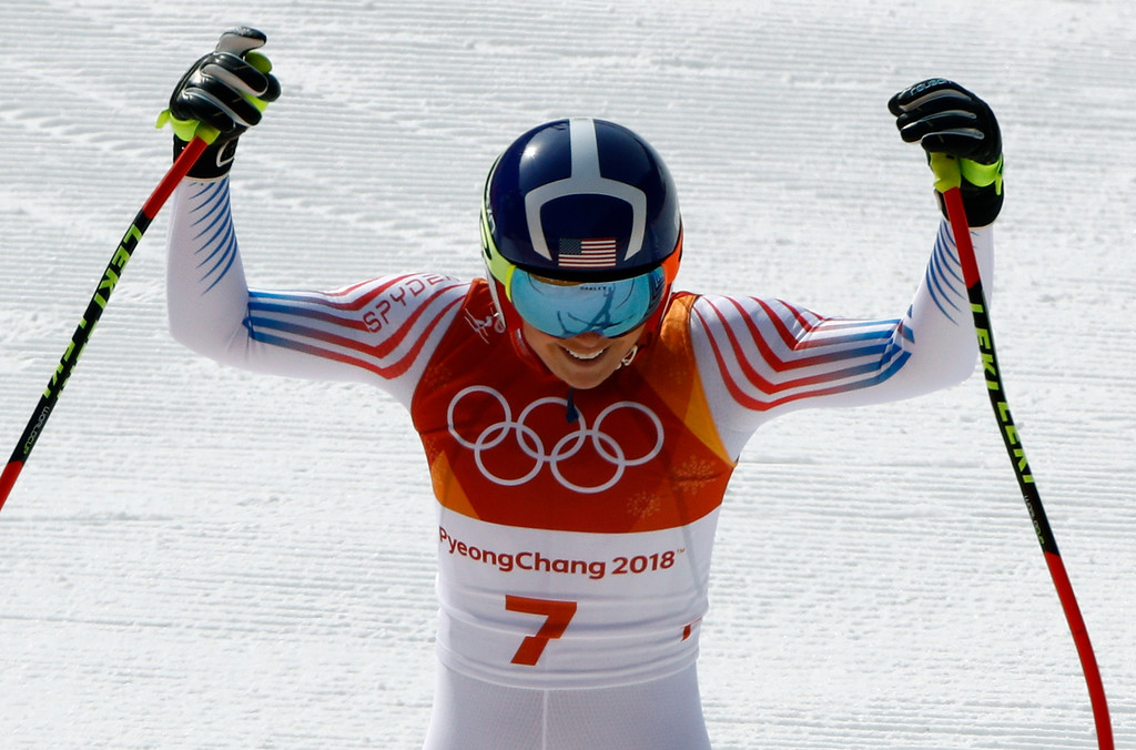 . United States\' Lindsey Vonn reacts after competing in the women\'s downhill at the 2018 Winter Olympics in Jeongseon, South Korea, Wednesday, Feb. 21, 2018. (AP Photo/Charlie Riedel)