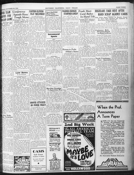 Daily Trojan, Vol. 22, No. 33, October 28, 1930