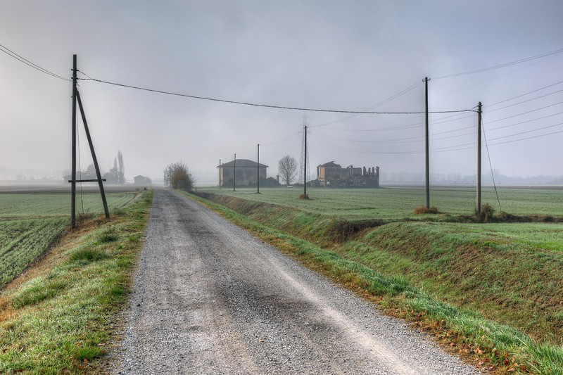Side road of Via Guercinesca Est - Nonantola, Modena, Italy - November 17, 2011