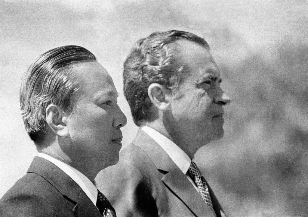 . In this April 2, 1973 photo, President Richard Nixon and South Vietnamese President Nguyen Van Thieu are in profile as they listen to national anthems during arrival ceremonies for Thieu at the Western White House in San Clemente, Calif. As the last U.S. combat troops left Vietnam 40 years ago, angry protesters still awaited them at home. North Vietnamese soldiers took heart from their foes\' departure, and South Vietnamese who had helped the Americans feared for the future. While the fall of Saigon two years later � with its indelible images of frantic helicopter evacuations � is remembered as the final day of the Vietnam War, Friday marks an anniversary that holds greater meaning for many who fought, protested or otherwise lived it. (AP Photo)