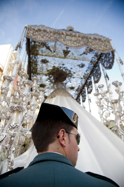 Civil Guard escorting a float with the Virgin image, Palm Sunday 2008, Seville, Spain