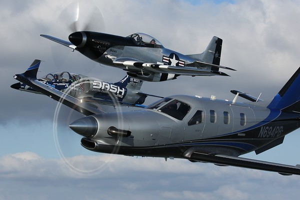"2014 Socata TBM 700, 1944 North American P-51D ""Mustang"", and 1974 Aero Vodochody L-39C ""Albatross"", Lakeland, 13Apr18"