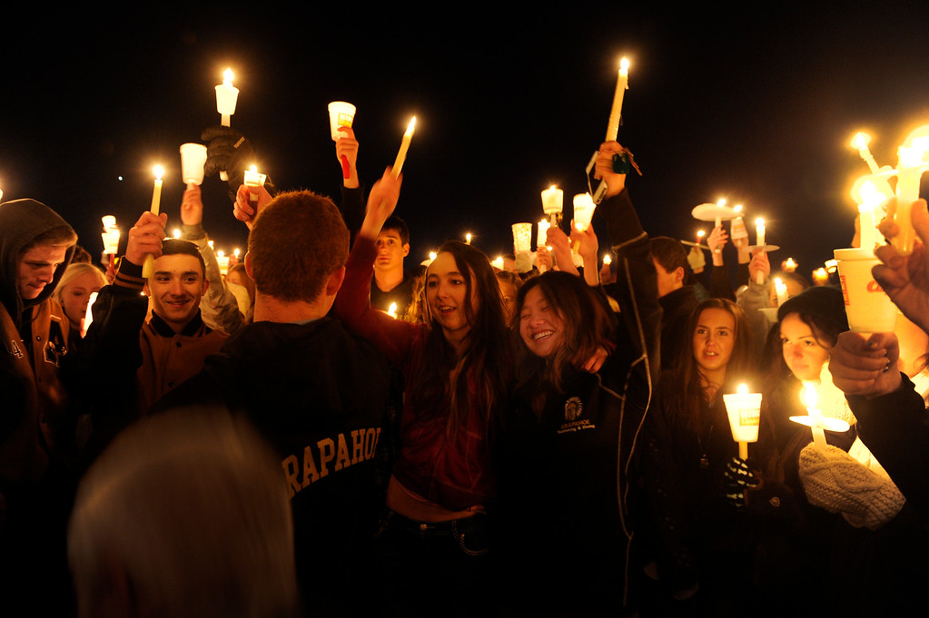 . Hundreds of Arapahoe High School students gathered for a candlelight vigil Saturday night to share their prayers for Claire Davis who was shot inside the school Friday, December 13, 2013. The vigil was held at Arapaho Park in Centennial, not far from the school. Photo By Karl Gehring/The Denver Post