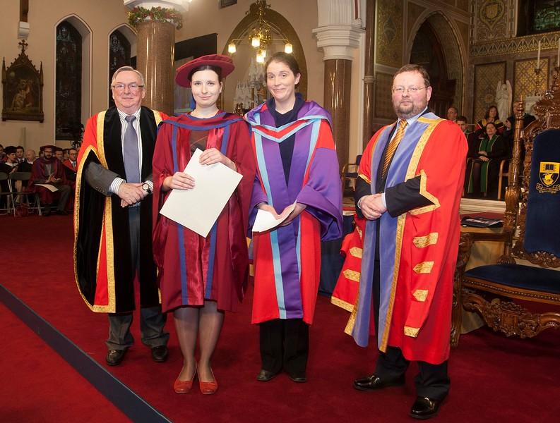 Pictured is Magdalena Necpalova of Slovakia and Piltown, Kilkenny who was conferred a Doctor of Philosophy, also pictured is Dr Donie Ormonde, WIT Chairman, Imelda Casey supervisor,  and Dr. Derek O'Byrne, Registrar of WIT. Picture: Patrick Browne.
