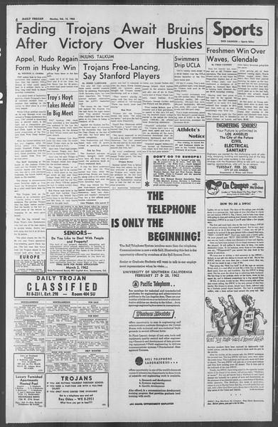 Daily Trojan, Vol. 53, No. 67, February 12, 1962