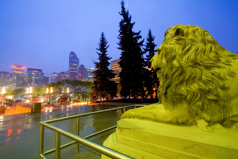 Lion statue in front of the Calgary Municipal Building
