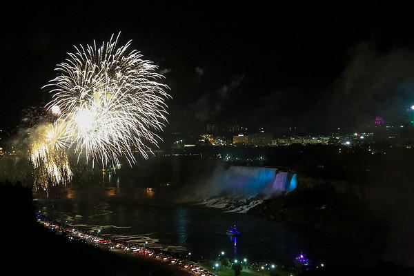 Niagara Falls Fireworks, view from Marriott hotel room