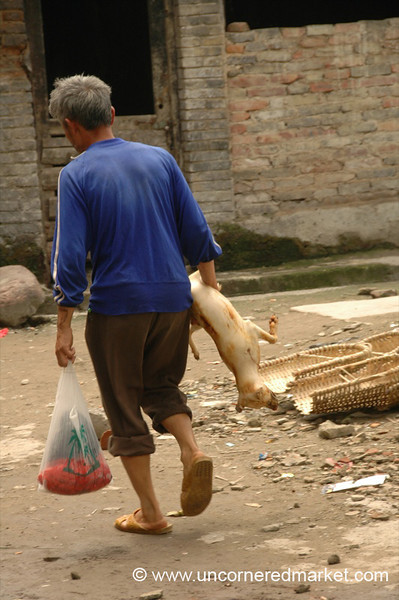 Man Carrying Dog Carcass - Guizhou Province, China