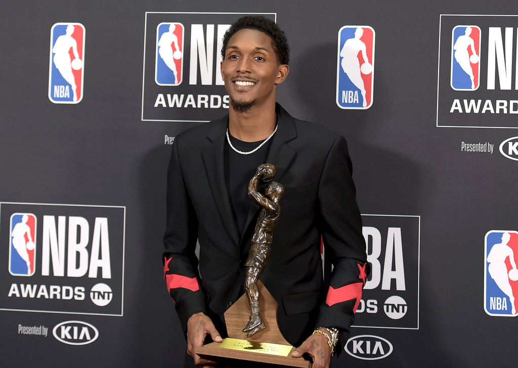 . Lou Williams, of the Los Angeles Clippers, poses in the press room with the 6th Man award at the NBA Awards on Monday, June 25, 2018, at the Barker Hangar in Santa Monica, Calif. (Photo by Richard Shotwell/Invision/AP)