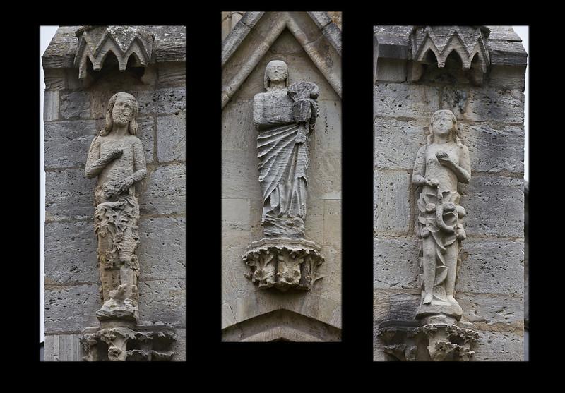 Kloster Schulpforta, Kirche. Adam, Maria und Eva an der Westfassade