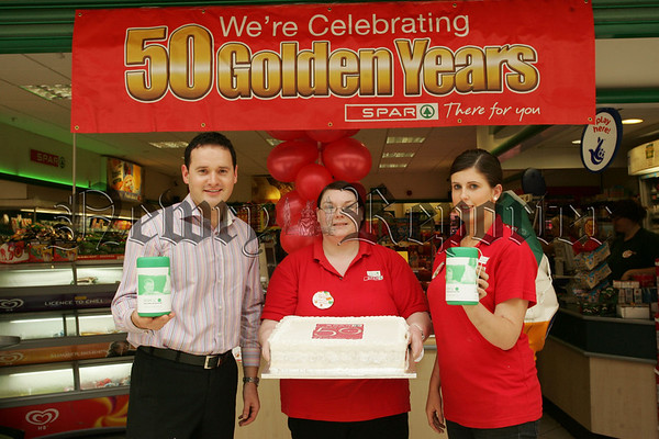 Pictured are Conor Markey, Aisling Gallagher and Charlene Reavey from Spar Buttercrane who are celebrating Spar's 50th Aniversary by raising much needed funds for the NSPCC. 07W37N16