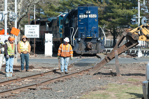 04/05/18 Wesley Bunnell   Staff Pan-Am crews are on the scene of a train derailment on Thursday morning in front of Columbus Plaza assessing and making repairs to the tracks. The site was also the scene of a derailment in 2016. Heavy equipment is being used to remove broken railroad ties from beneath the tracks.