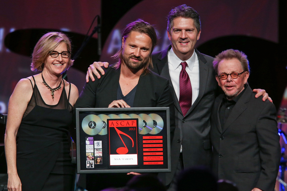 . Max Martin (2nd from left) receives an award on stage during the 30th Annual ASCAP Pop Music Awards at Loews Hollywood Hotel on April 17, 2013 in Hollywood, California.  (Photo by Paul A. Hebert/Getty Images)