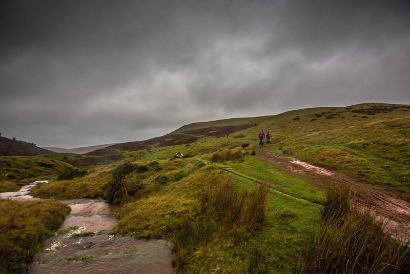 Mountain biking during a Welsh winter.