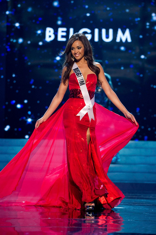 . Miss Belgium 2012 Laura Beyne competes in an evening gown of her choice during the Evening Gown Competition of the 2012 Miss Universe Presentation Show in Las Vegas, Nevada, December 13, 2012. The Miss Universe 2012 pageant will be held on December 19 at the Planet Hollywood Resort and Casino in Las Vegas. REUTERS/Darren Decker/Miss Universe Organization L.P/Handout