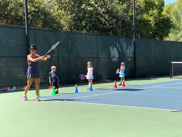 Abby, Christian and Ryan Tennis Lesson, May 3, 2018