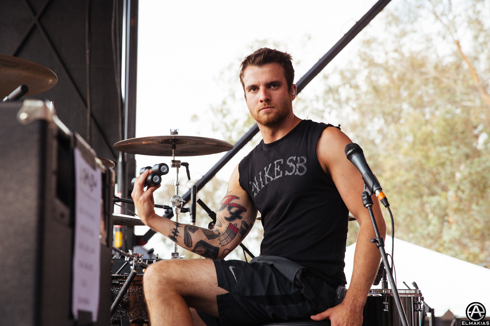 Photo of Rian Dawson of All Time Low at Weenie Roast by Adam Elmakias