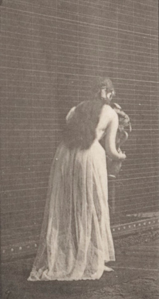 Semi-nude woman ascending and descending stairs with flowers