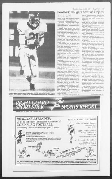 Daily Trojan, Vol. 116, No. 20, September 30, 1991