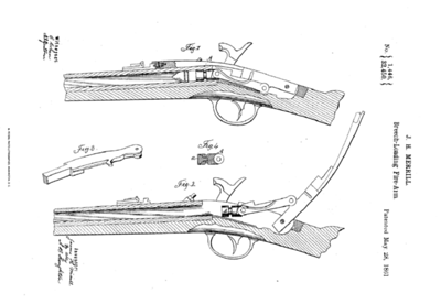 32,450 - Improvement in the vent-stoppers of ordnance, assigned to the Merrill Patent Firearms Mfg Co (May 28, 1861)