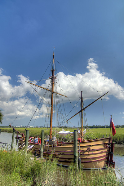 The Adventure, a fully-functional replica of a 17th-century trading vessel, at Charles Towne Landing State Historic Park in Charleston, SC on Saturday, September 7, 2013. Copyright 2013 Jason Barnette