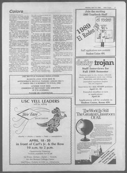 Daily Trojan, Vol. 106, No. 62, April 18, 1988