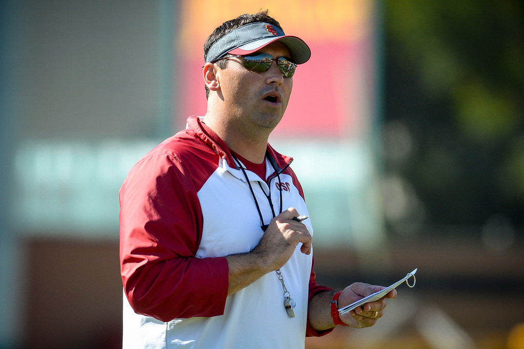 . USC head coach Steve Sarkisian during spring practice at USC Tuesday, April 15, 2014.  (Photo by David Crane/Los Angeles Daily News.)
