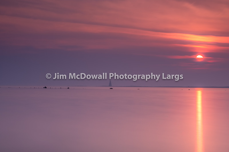 A Misty Etherial Horse Island Ardrossan at Sunset on the West Coast of Scotland.