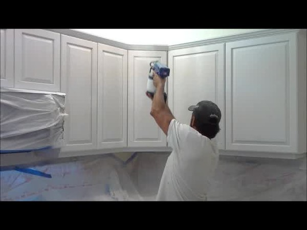 Kitchen Cabinet Spray Job.wmv